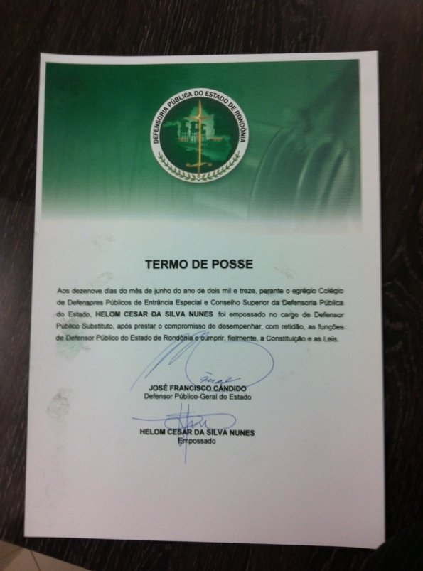 DPE RO TERMO DE POSSE